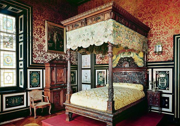 Bedroom of Henri II (1519-59) and Diane de Poitiers (1499-1566) (photo) ... French School, (16th century) .... Location: Chateau d'Anet, Eure-Et-Loir, France