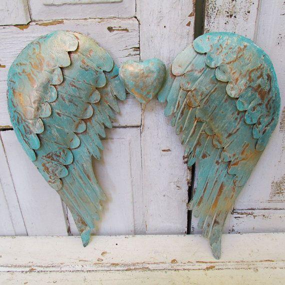 Metall Engel Flügel Wand hängen bekümmert Meer Glas Strumpfhose gold große Zinn Flügel mit Herz Verzierung Wohnkultur Anita Spero Design