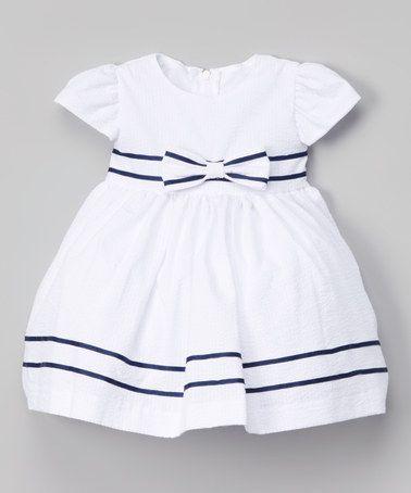 d8f547340 Loving this White   Navy Seersucker Bow Dress - Infant