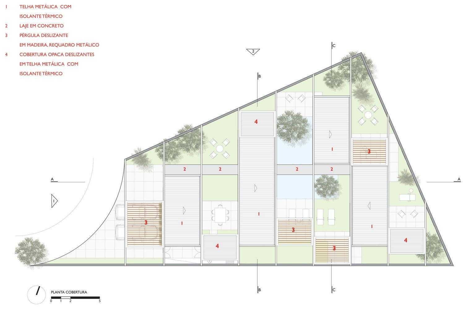 Galería de Casa de las Pérgolas Deslizantes / FGMF Arquitectos. Vista-32. Planta de Cubiertas o Techos.