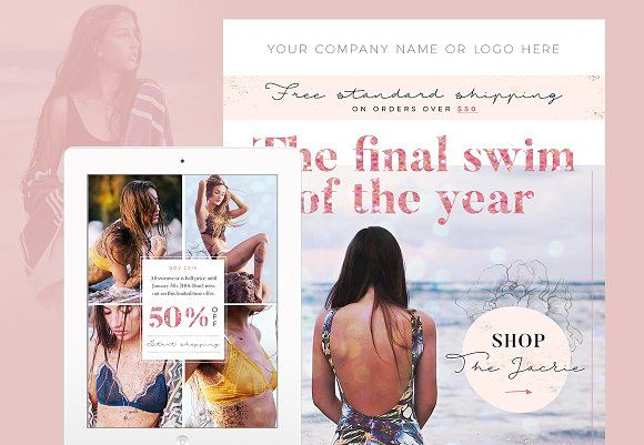 Boho Email Template PSD - Swim by JannaLynnCreative on