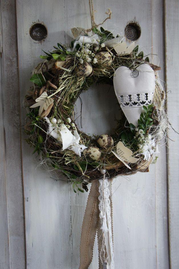 """Photo of Decorazione pasquale – ghirlanda porta """"Cuore di primavera …."""" – un pezzo di design di Hoimeliges …"""