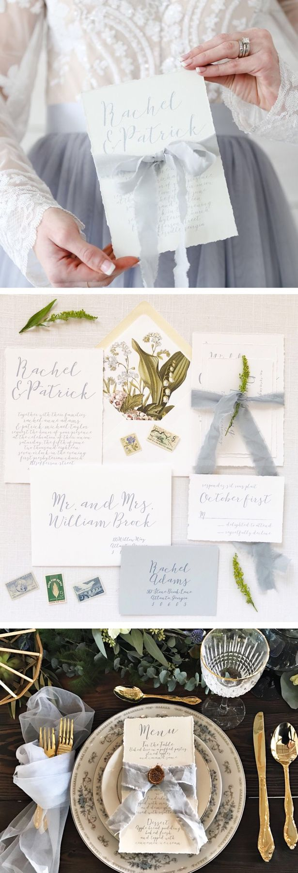 Dusty blue wedding invitations printed on hand torn cotton paper ...