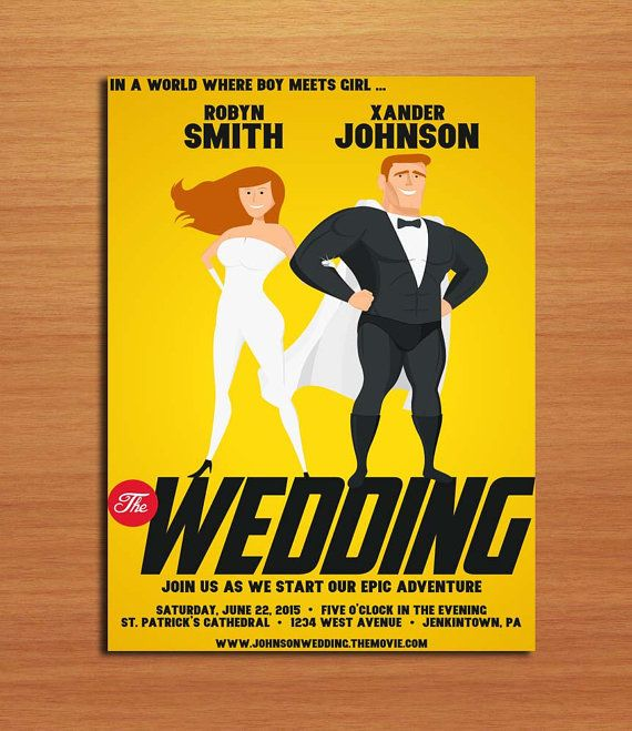Super Hero Invitation Comic Book Wedding Super Man Wedding Etsy Wedding Saving Superhero Wedding Marvel Wedding