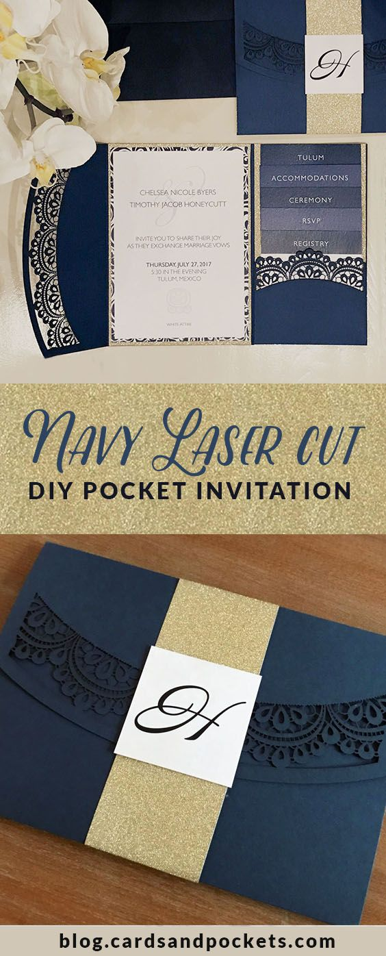 This DIY laser wedding invitation uses navy blue, white, and gold glitter for an elegant look for a beachy destination wedding. It features a laser cut lace doily pocket. Learn how to DIY at: http://blog.cardsandpockets.com/2017/03/09/my-diy-story-navy-white-laser-doily-pocket/