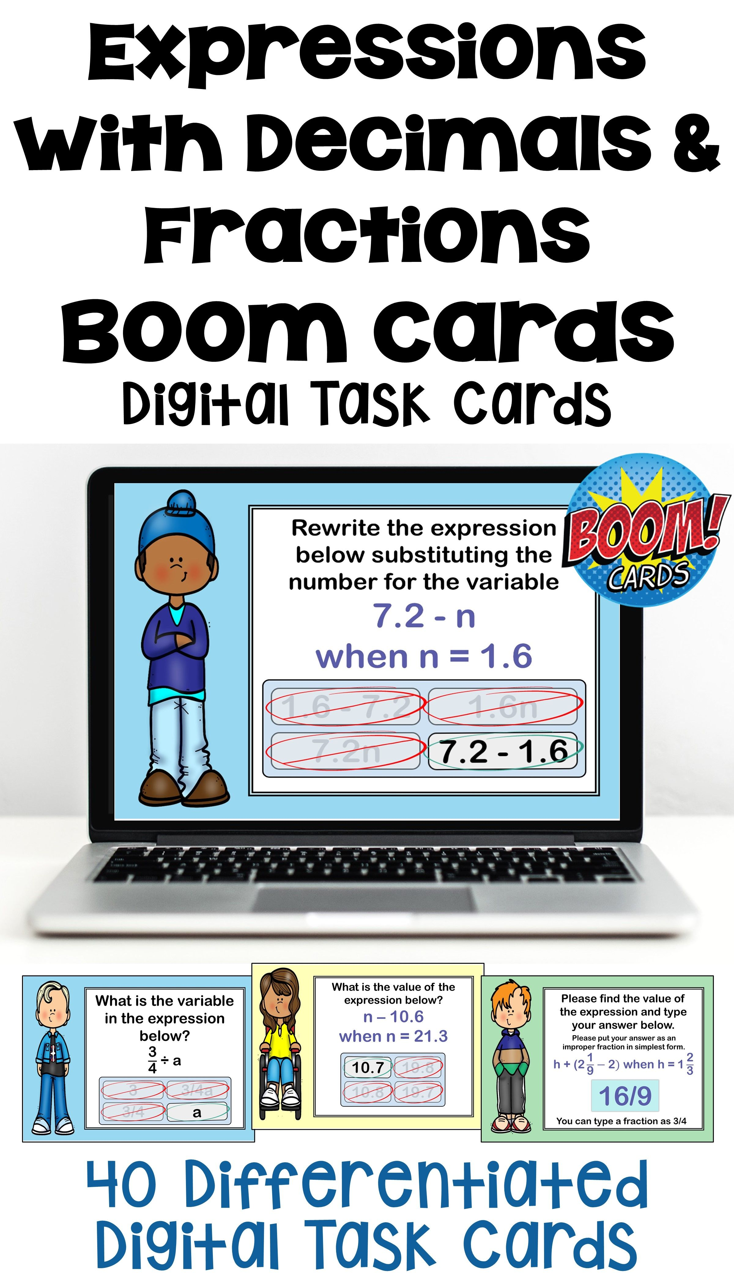 Expressions With Decimals And Fractions Boom Cards Digital Task Cards One Step Equations Digital Task Cards Fractions