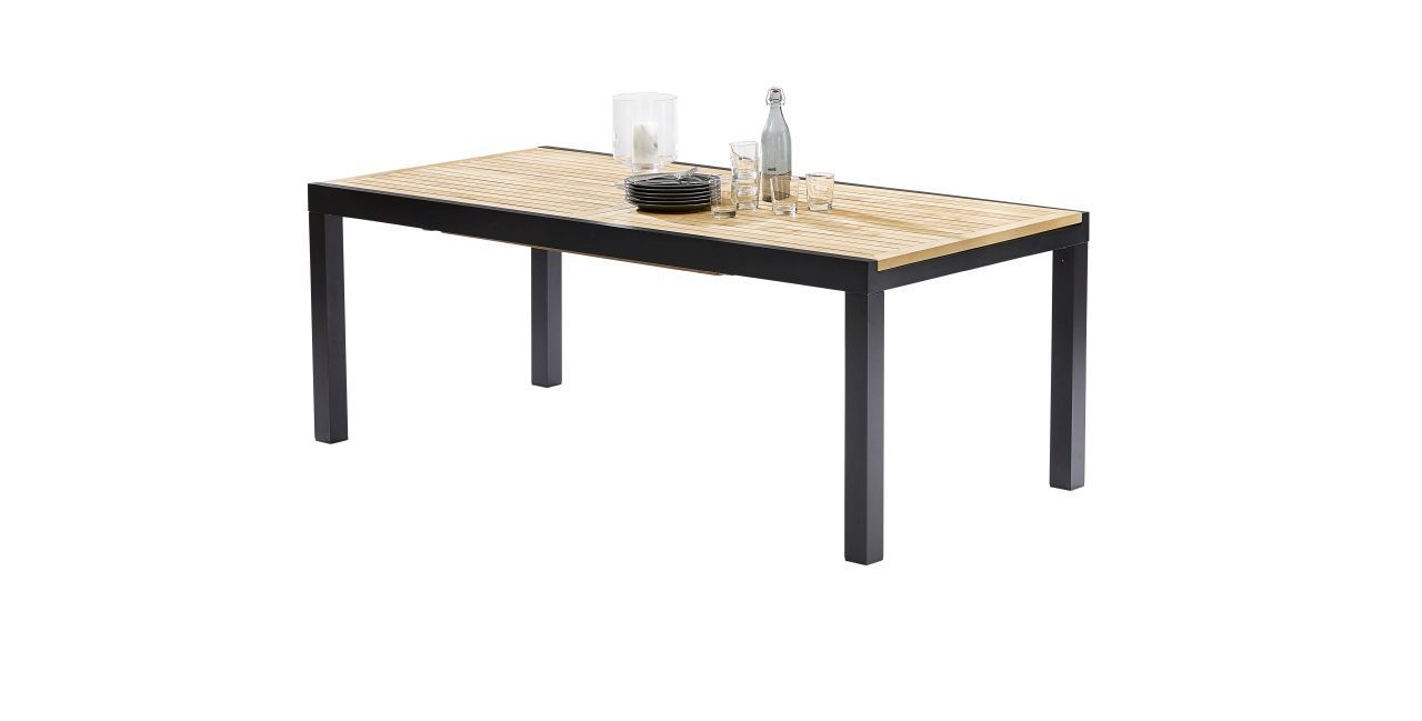 Table de jardin Bali teck/noir 8/12 places | Ids, Tables and De...