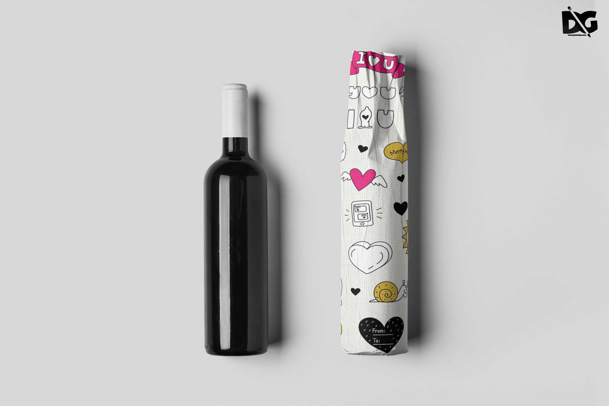 Free Black Wine Bottle Wrapped Psd Artwork Mockup Artworkmockup Psdartwork Psdartworkmockup Psdmockup Bot Bottle Mockup Logo Design Mockup Mockup Free Psd