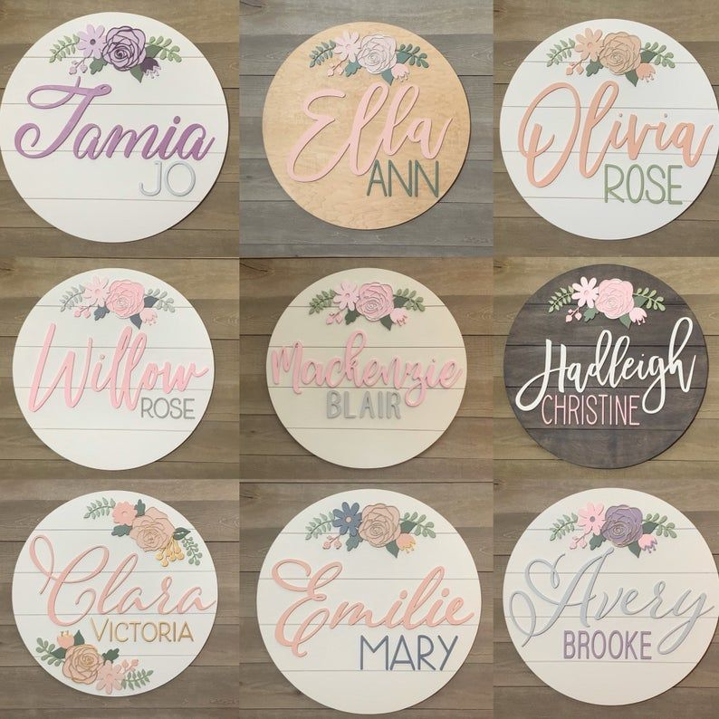 24 Custom Wood baby Name Sign | 24 Round Sign | Floral | shiplap | rose | Nursery Wall Art | Baby Shower Gift | Girls