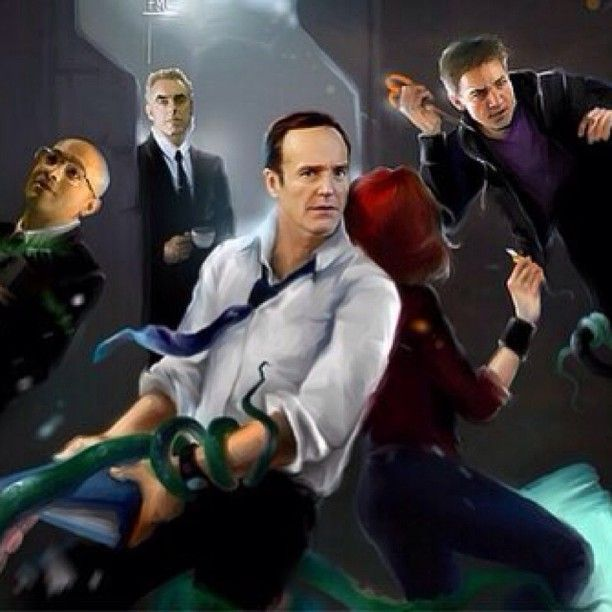 AGENT COULSON,HAWKEYE,AGENT BLAKE , AGENT SITWELL AND BLACK WODOW