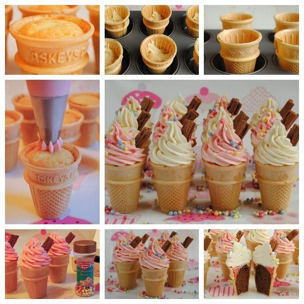 Cupcake ice cream cones recipes Pinterest Cupcake icing Ice