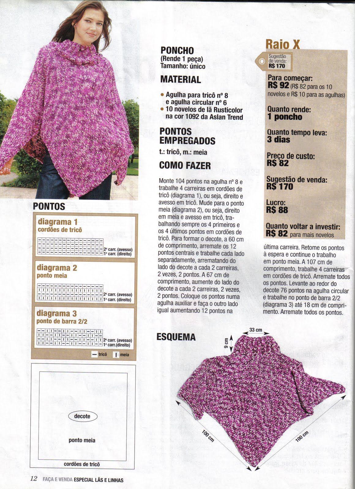 Poncho | Knitting | Pinterest | Ponchos, Tejido y Dos agujas
