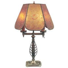 Signed Hubley American Art Deco Table Lamp With Mica Shade