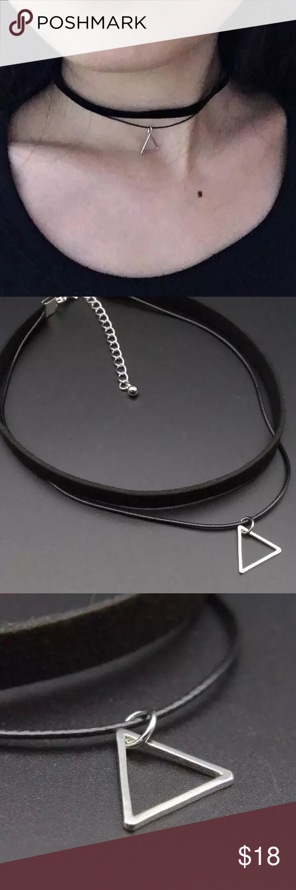 ⬇️Black Rope with Triangle Choker Boutique | Black rope, Black ...