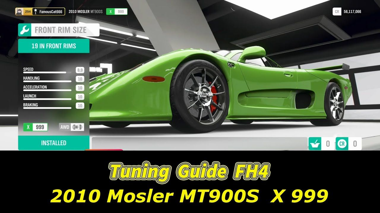 Forza Horizon 4 Tuning Guide Of 2010 Mosler Mt900s Tune Tutorial