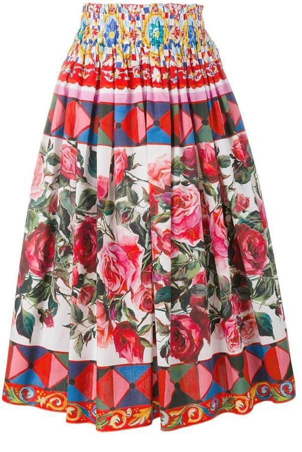 6e081a29f0 Dolce   Gabbana Mambo print pleated skirt Largos