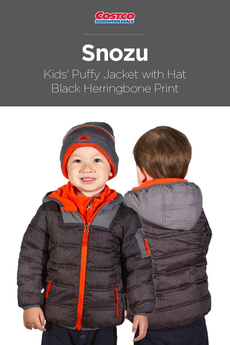 Snozu Kids Puffy Jacket With Hat Black Herringbone Print Puffy Jacket Boy Outerwear Black Herringbone [ 1102 x 735 Pixel ]