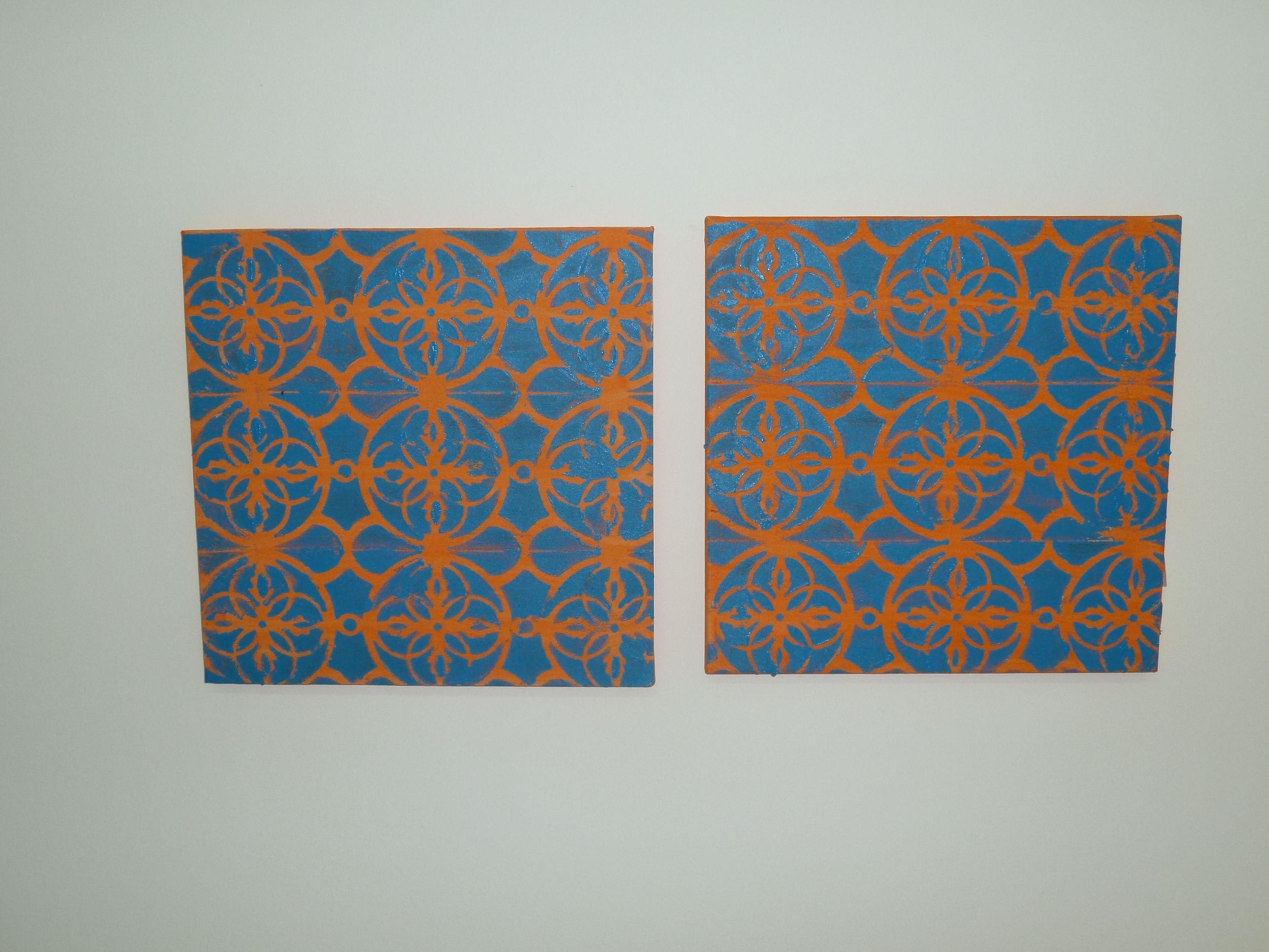 tela Laranja Blue em pintura acrilica 2011- 30x30 Diptico - acrylic on canvas -  Melina Ollandezos
