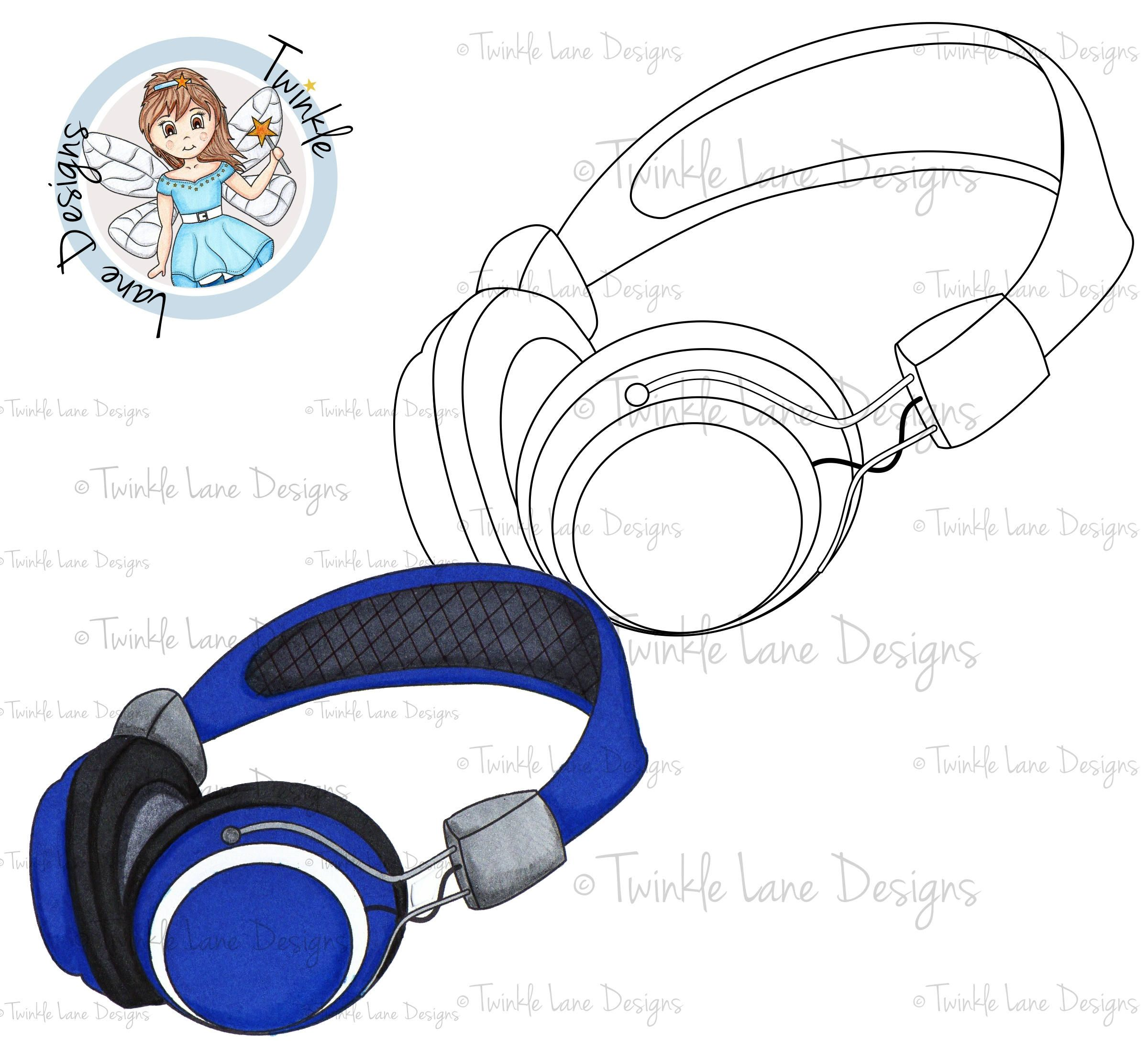 Headphones Digi Stamp Earphones Digital Music Audio Adult Colouring Page A5 Sheet Papercraft For Him Her Clipart