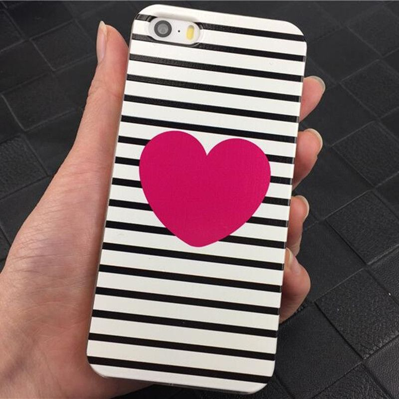 Black Stripes Heart Pattern Phone Case For iPhone 5 5S SE New Fashion Hard Plastic Clear Case Cover For iPhone 5s Capa Fundas