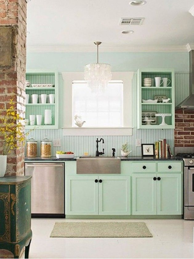 20 Lovely Peach And Mint Interior Designs Mint Green Kitchen