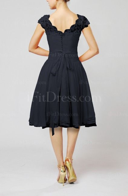 Navy Blue Cinderella Scalloped Edge Short Sleeve Chiffon Knee Length Lace Bridesmaid Dresses