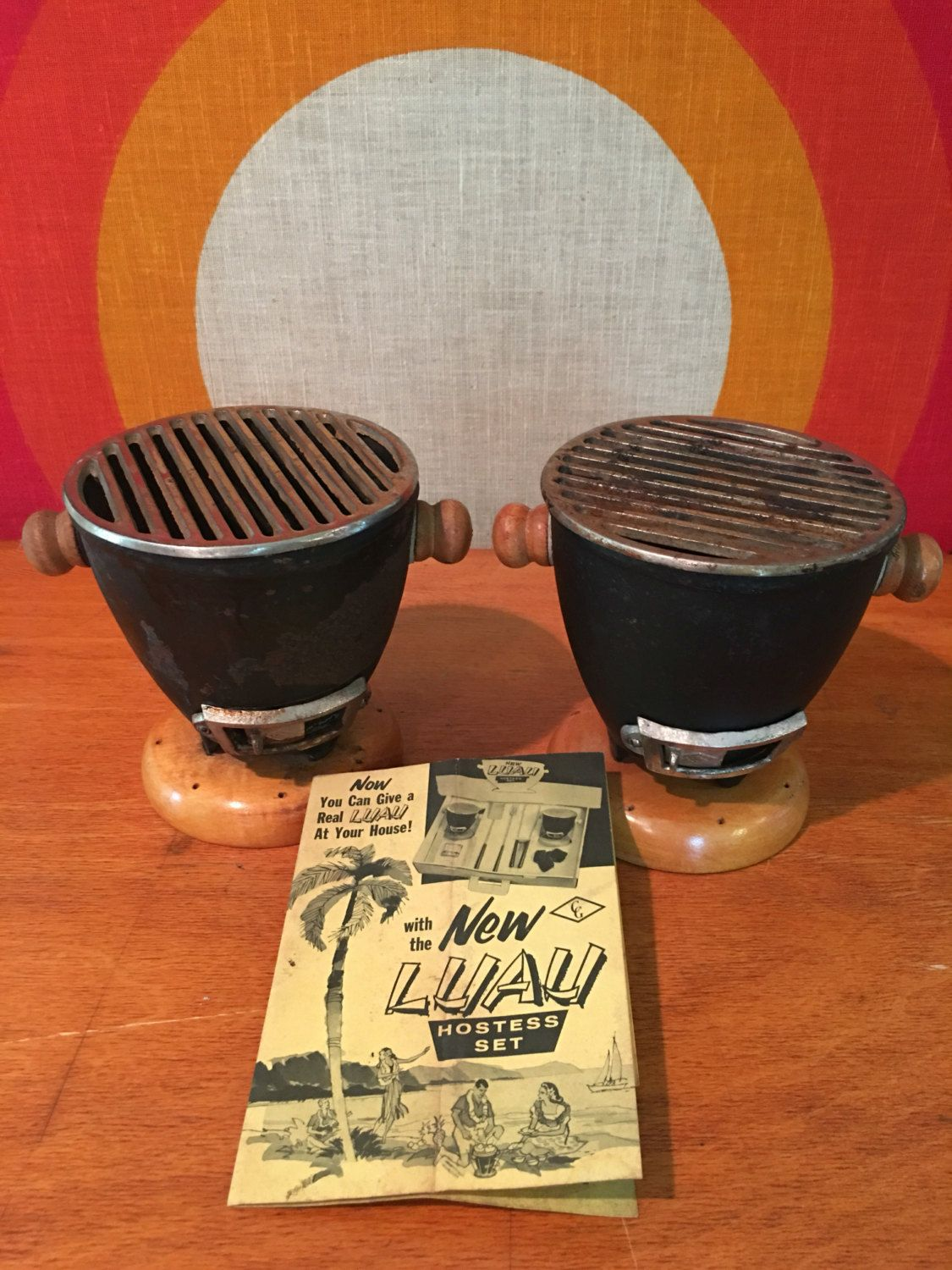 Vintage Mini Tabletop Hibachi Grill Set Of 2 Bbq Personal Size Tail Hostess Luau Tiki Party By