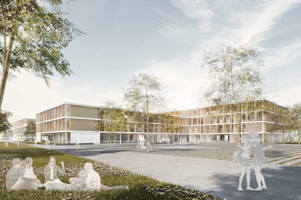 Lovely Preis beim Wettbewerb Neubau Staudinger Gesamtschule Freiburg Visualisierung von LINKD Entwurf Broghammer