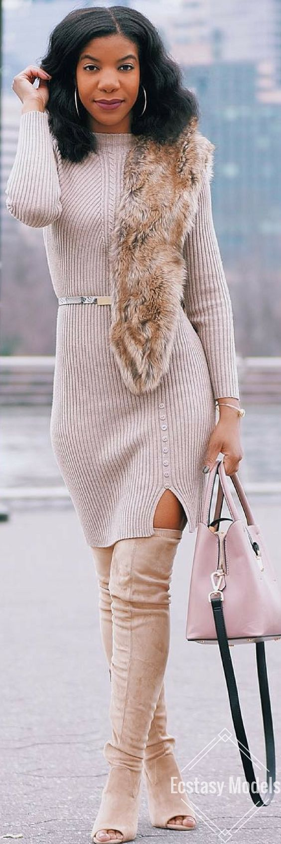 Khaki Dress from @sheinofficial // Fashion Look by Kasi Perkins
