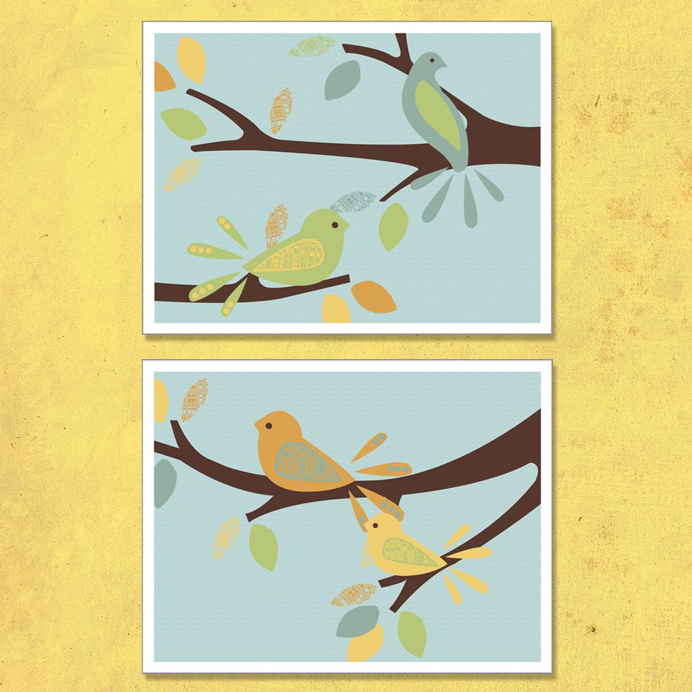 Bird wall art print set, nursery art, blue, green, orange and yellow ...