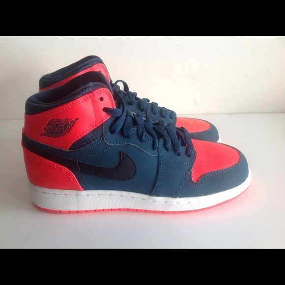 Air jordan 1 retro red navy Brand new pair of  air jordan 1 retro red navy blue sz4y, 4.5y with original box 100% authentic Nike Shoes Sneakers