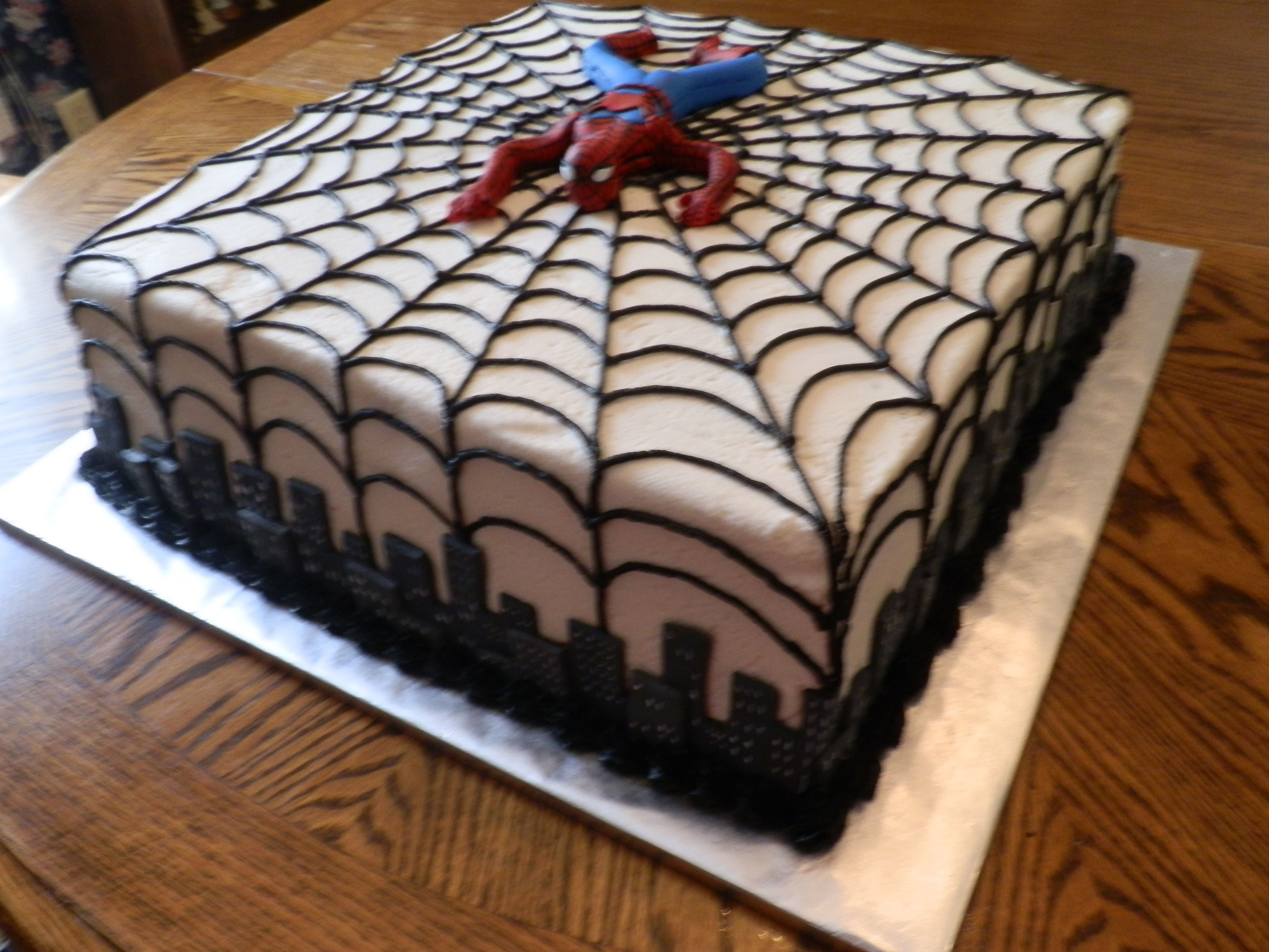 Black And White Spiderman Cake Design Cakes Spiderman Birthday
