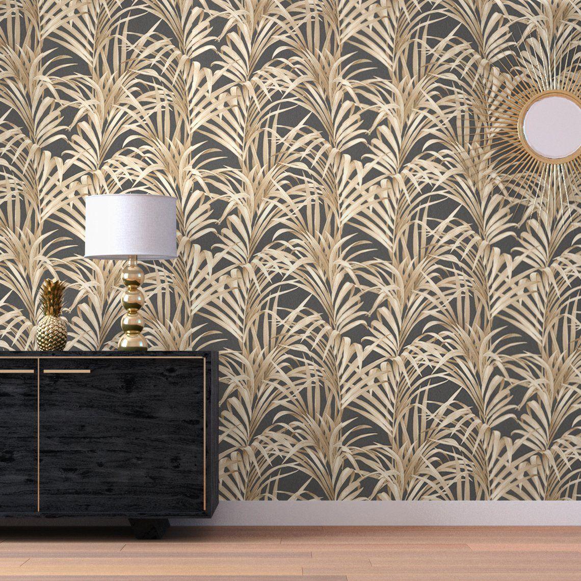 Papier Peint Style Atelier papier peint fanchon 100% intissé motif tropical doré, gris