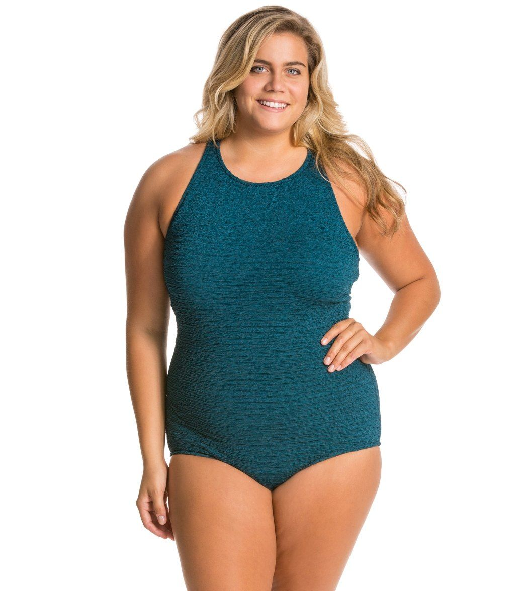 Penbrooke Krinkle Plus Size High Neck Mio Chlorine Resistant One Piece at SwimOutlet.com - The Web's most popular swim shop
