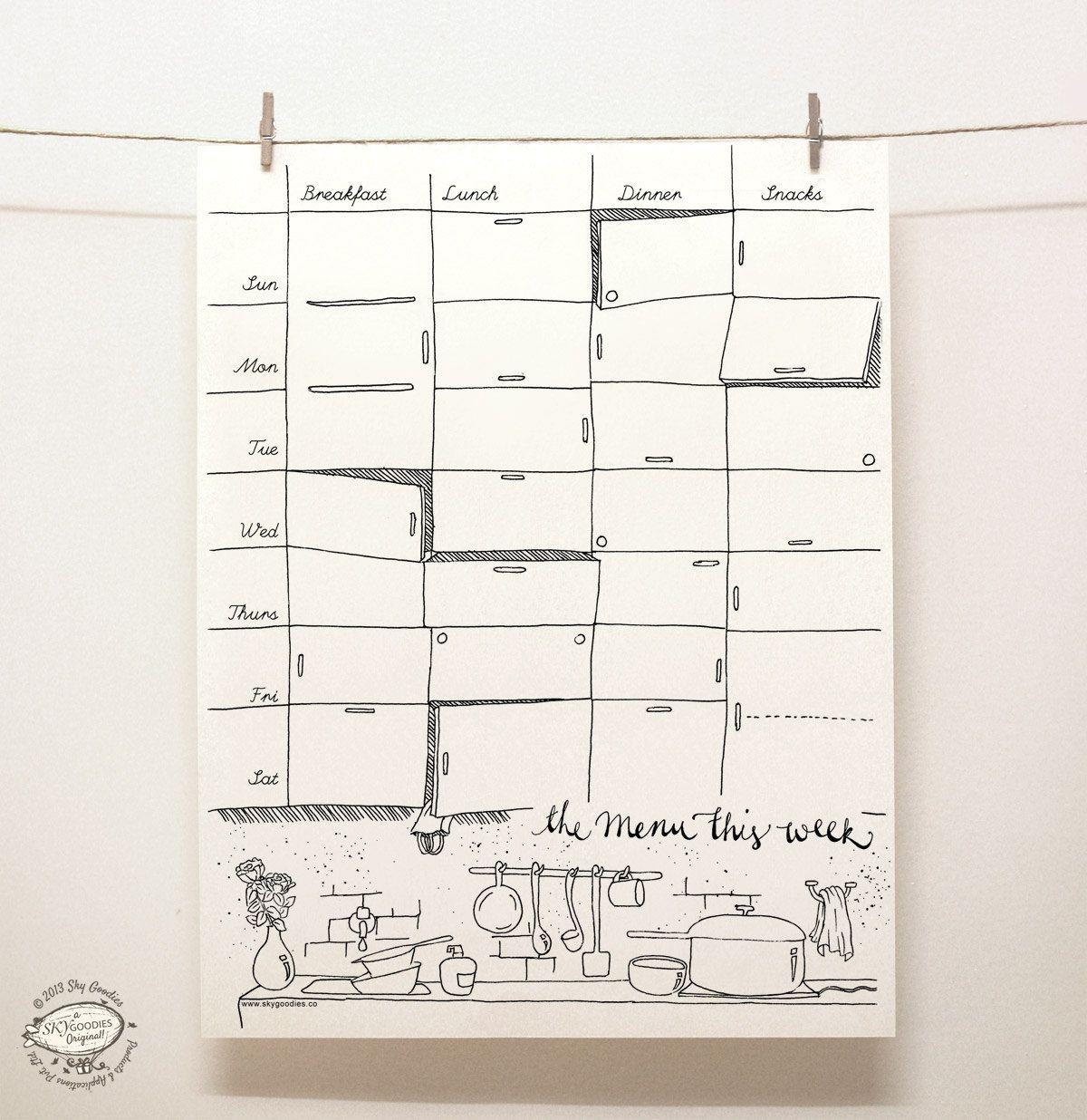 Doodle Weekly Menu Planner Kitchen Organizer