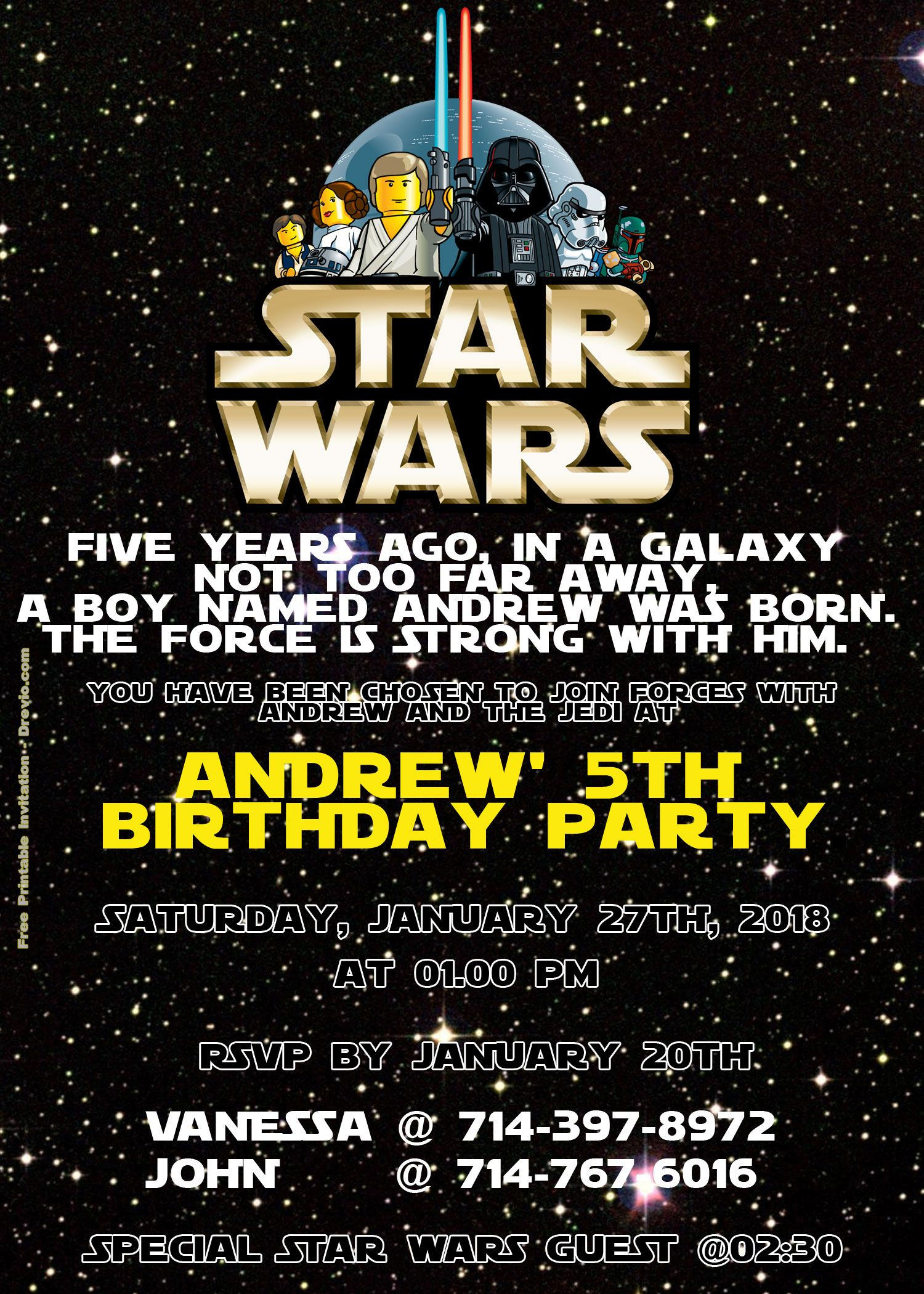 Awesome FREE LEGO Star Wars Birthday Invitation PSD Download