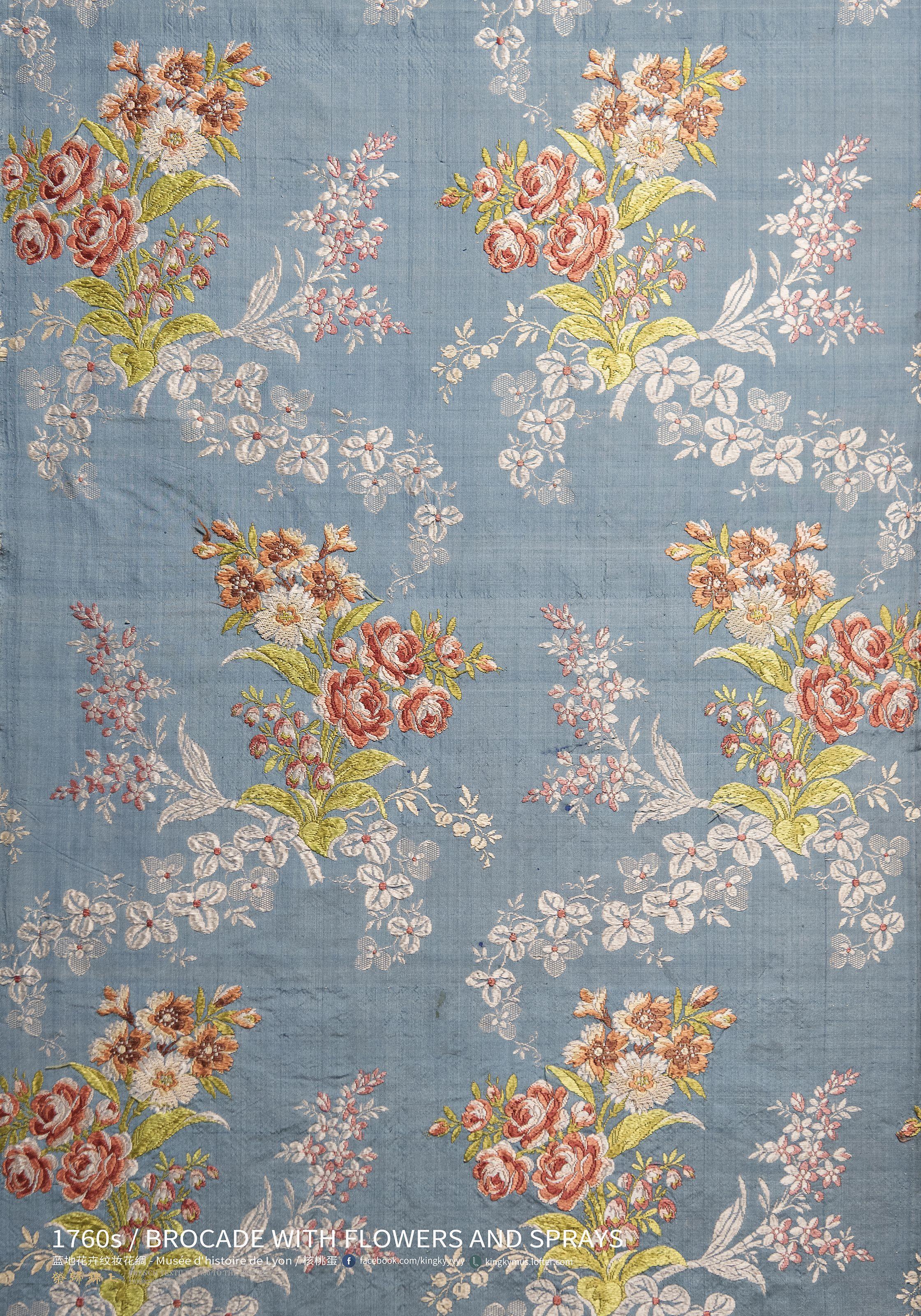 2018 的 1760年代 蓝地花卉纹妆...