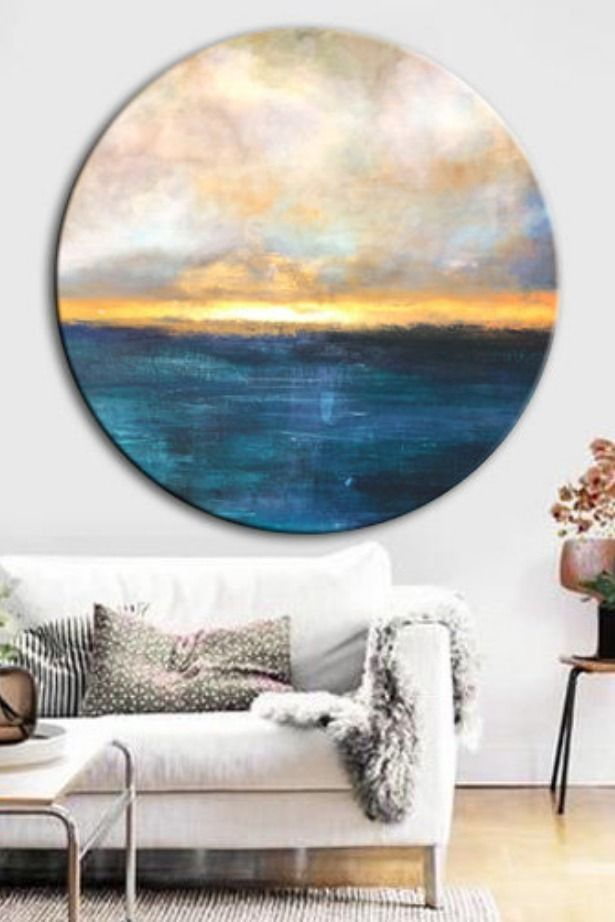 Photo of Original circular large painting on canvas Ocean painting Sunset painting Landscape …