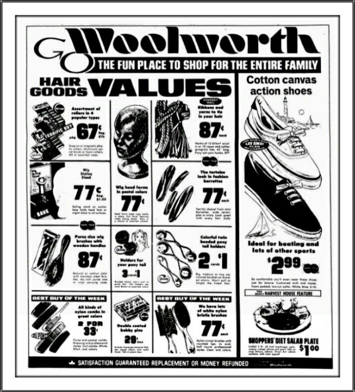 f w woolworth co hair and shoe ad 1970 s f w woolworth co 1980 Sears Christmas Catalog hair and shoe ad 1970 s