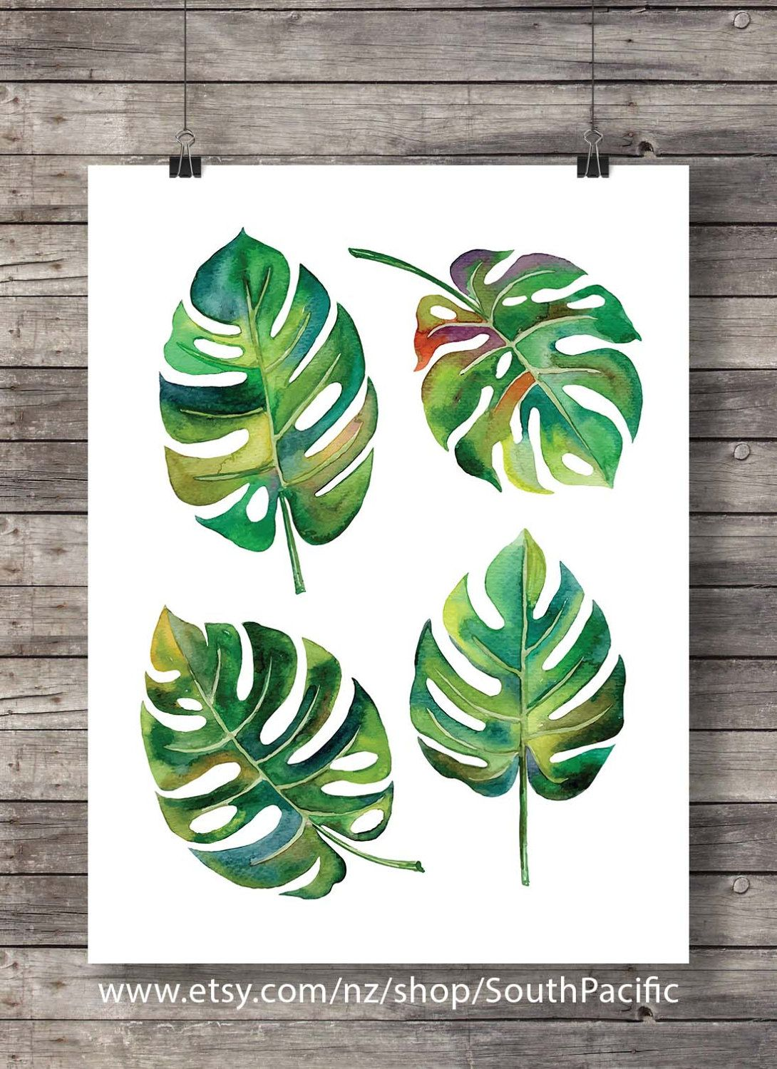 Watercolor Monstera Leaves Printable Art Fruit Salad Plant Swiss