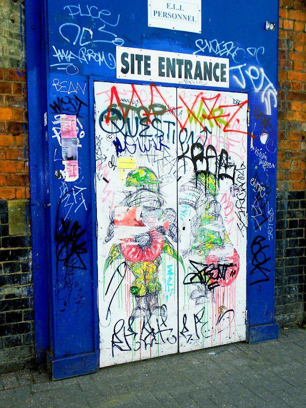 shoreditch london street art illustrations door