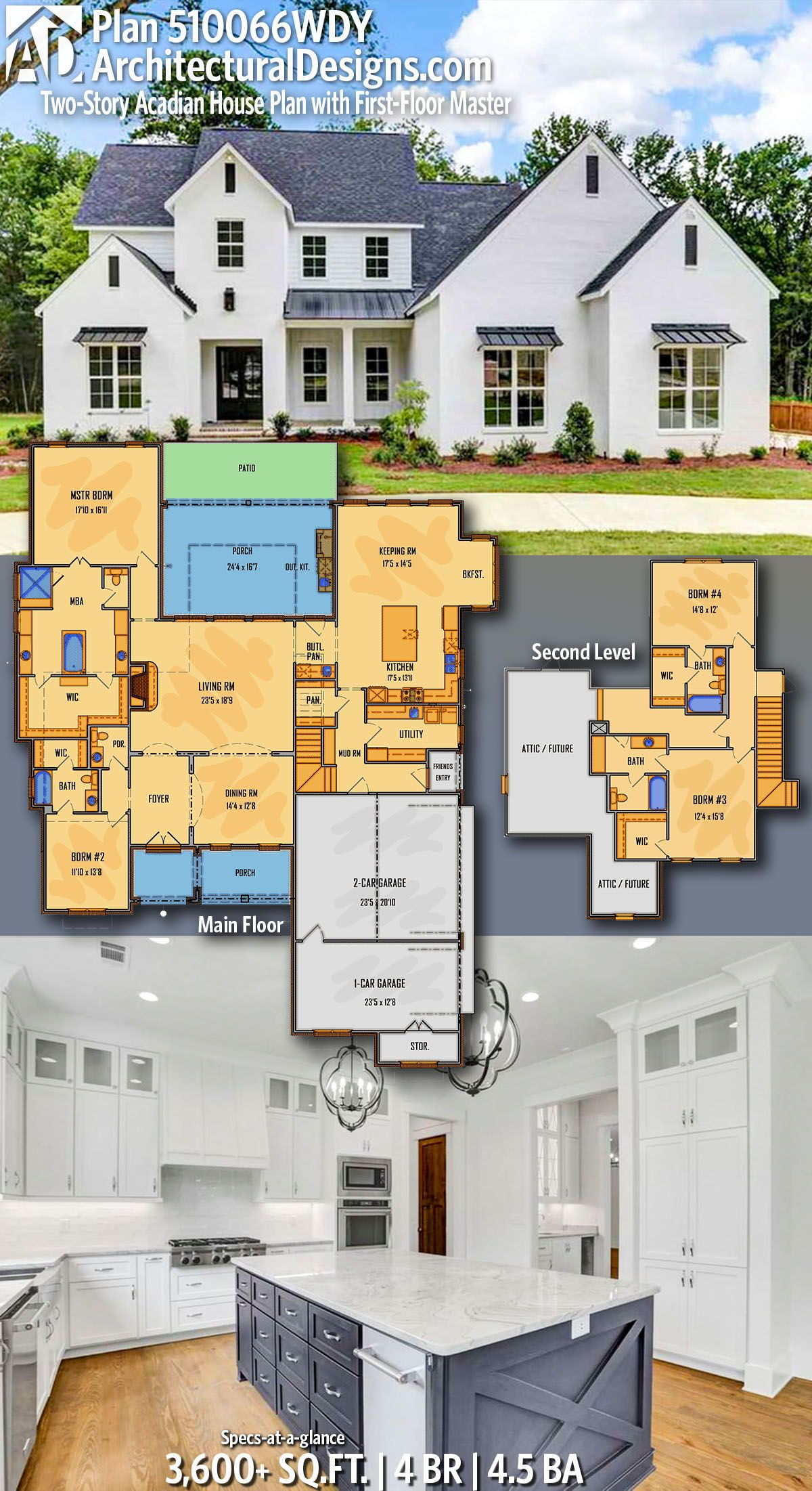 Plan 510066wdy Two Story Acadian House Plan With First Floor Master Acadian House Plans House Plans House Design