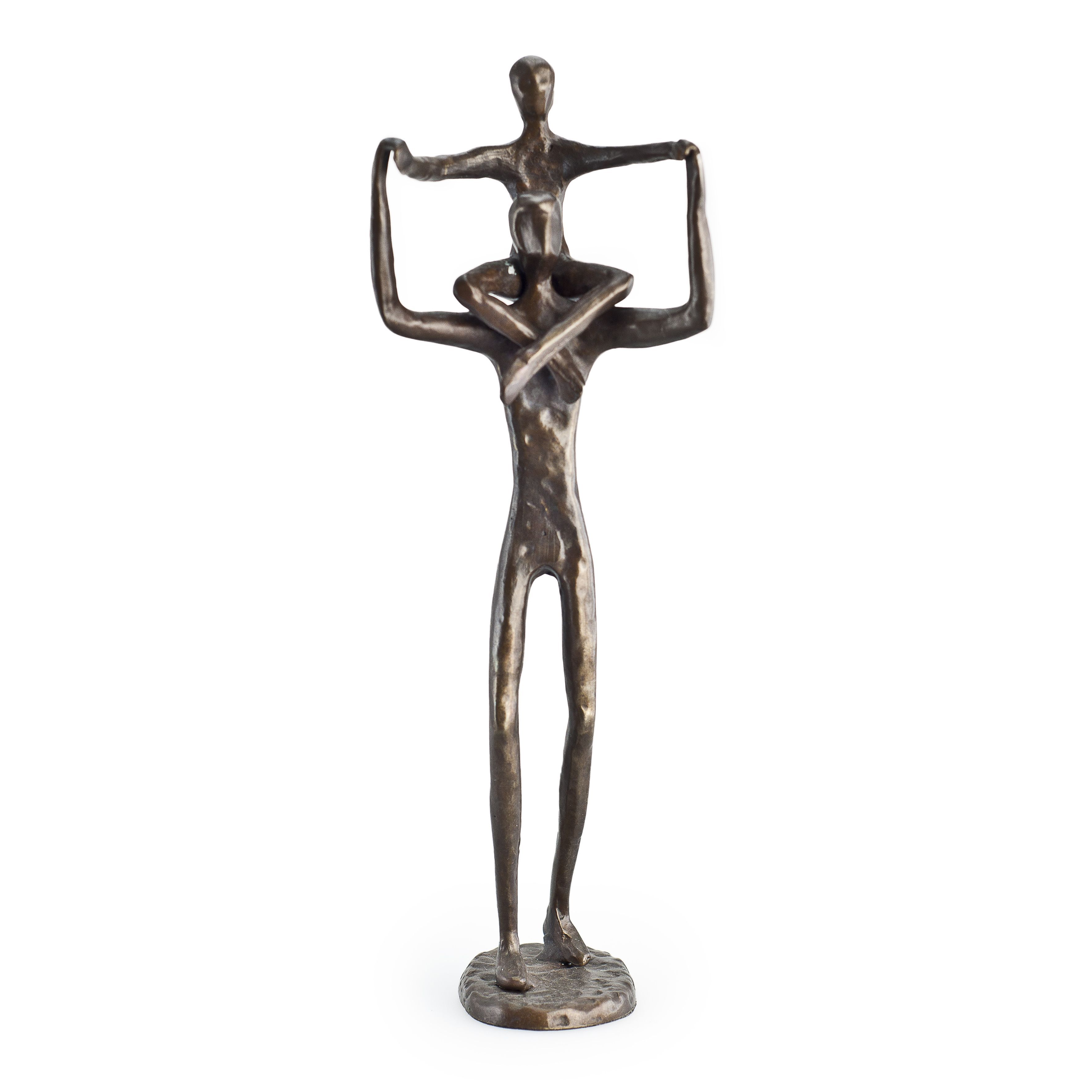 Proud and strong, this cast bronze sculpture celebrates the bond between a father and his child reminding us all that is wonderful about fatherhood! Love abounds with this uplifting pose as the artist conveys the joy in a father's heart. Great gift