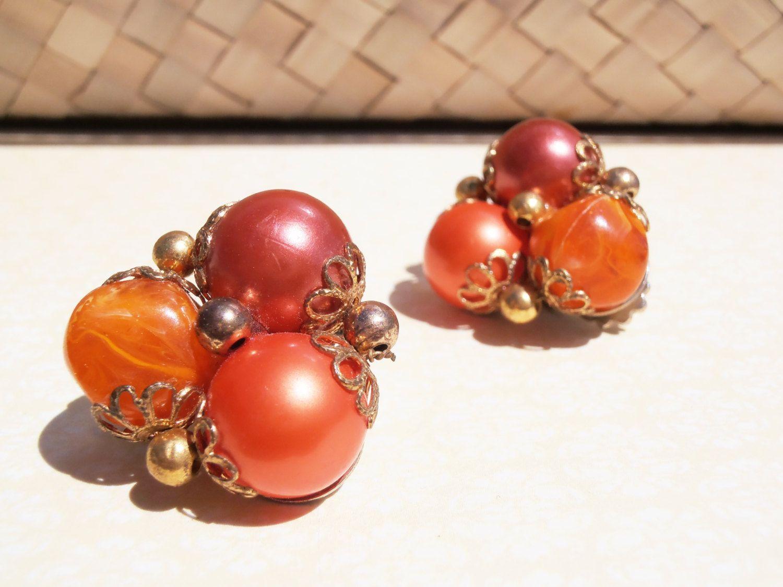 Vintage Orange Earrings, Orange Clip On Earrings, 1950s Earrings, 1960s Earrings, Earrings Vintage Red Clip On, Mid Century Earrings by TheButtonBird on Etsy