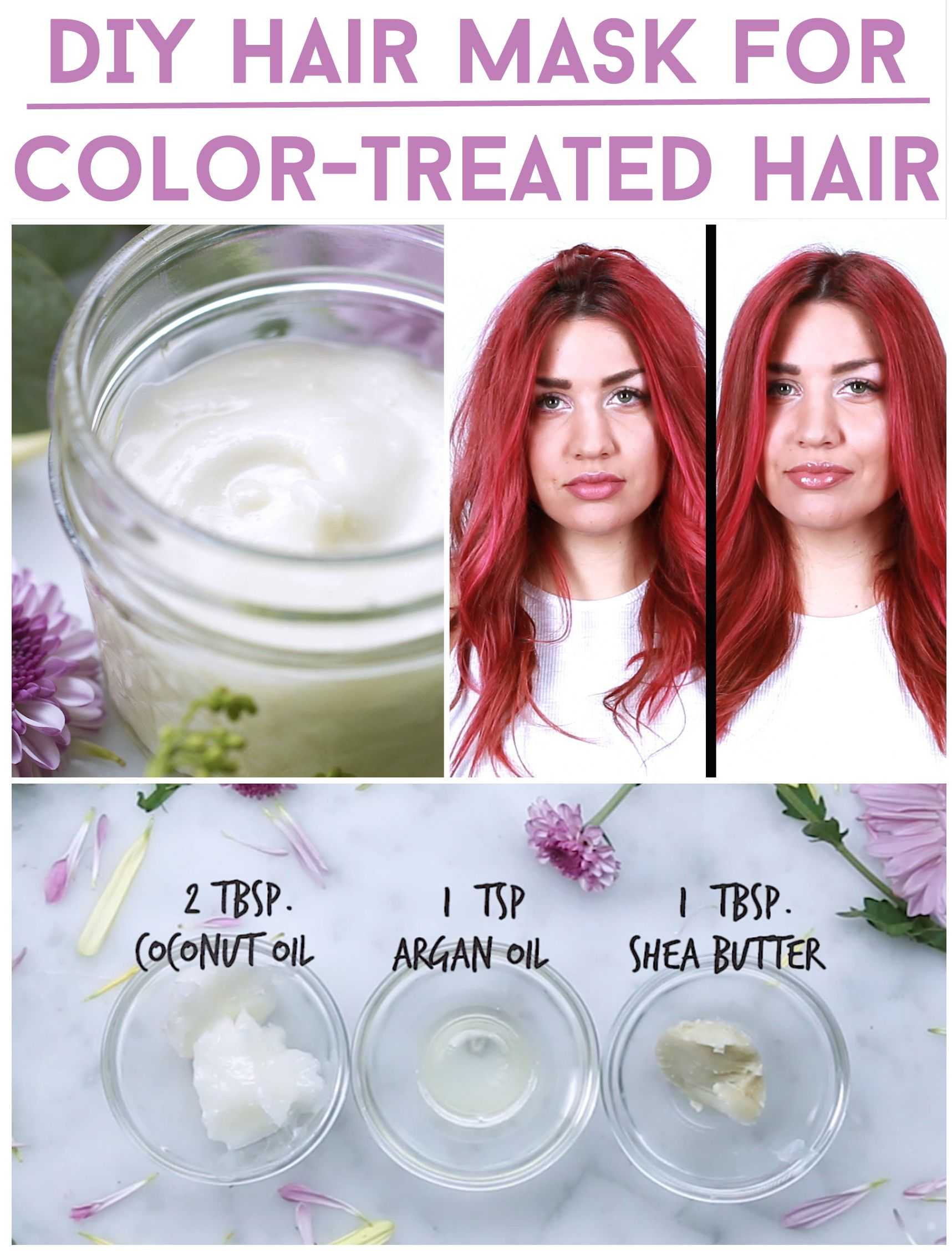 Three-Ingredient DIY Hair Mask For Color-Treated Hair. Loved this, added a dash of castor oil as well.