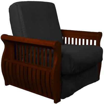 Concord Futon Chair Finish: Mahogany, Upholstery: Ebony Black   Http://