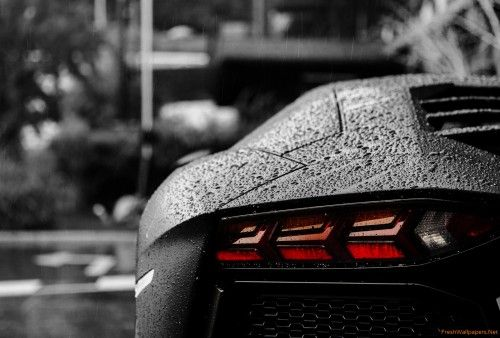 Black Lamborghini Aventador In The Rain Wallpapers Free Black