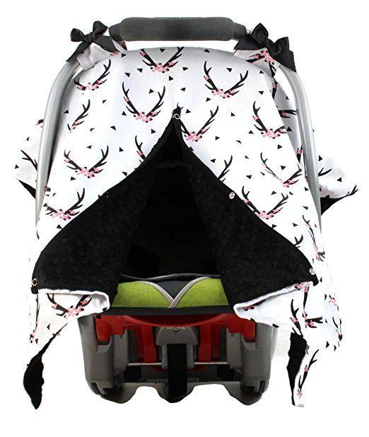 Amazon Dear Baby Gear Car Seat Canopy Antlers On Grey