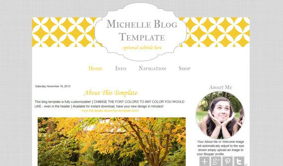 Premade Blogger Template Modern Yellow Blog by BlogaholicDesigns ...
