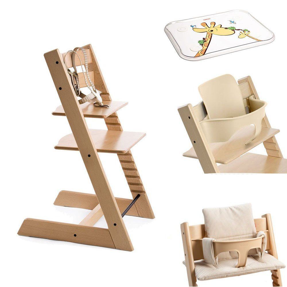 Stokke Tripp Trapp Chair w Baby Set, Stokke Table Top & Beige ...